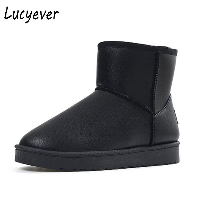 купить Lucyever Women Snow Boots PU Leather Fur Keep Warm Outdoor Winter Ankle Boots Leisure Slip On Waterproof Boots Mujer Botas недорого