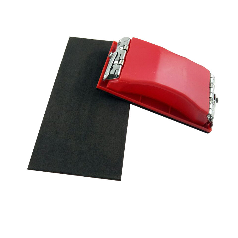 Plastic Sandpaper Holder Sponge Cloth Shelf Iron Plate Frame Abrasive Block Hand-held Flat Grinding Polishing Woodworking Tool