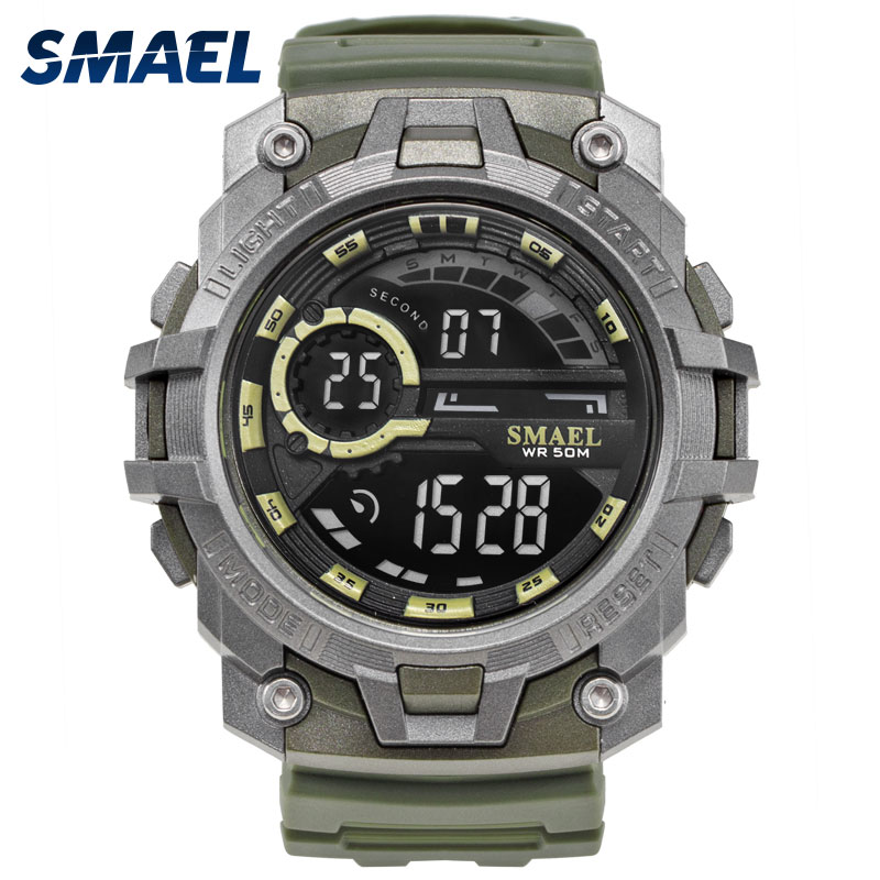 SMAEL Brand Digital Watches LED Backlight Fashion Male electronic Military Clock Men Watch Big Dial Sports Watch Waterproof 50M