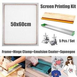 Pantalla de impresión de marco de aluminio + bisagra abrazadera + emulsión laca + escobilla de goma de impresión de pantalla herramientas accesorios de piezas de 5 unids/set