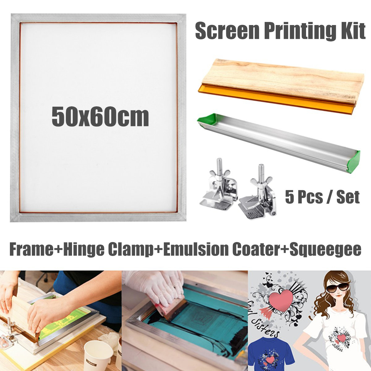 Screen Printing Kit Aluminum Frame+Hinge Clamp+Emulsion Coater+Squeegee Screen Printing Tools Parts Accessories 5Pcs/Set
