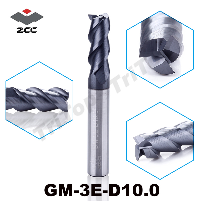 GM-3E-D10.0 cnc high speed profile milling cutter for metal solid carbide 3 flute 10 mm fresas para madera end mill zcc ct free shipping gm 4e d4 0s 4 fultes 4mm shank zcc ct carbide cutting tool end mill cutter for drill and milling