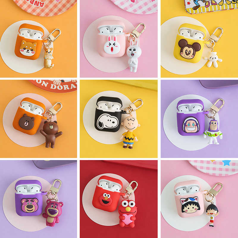 New Cartoon Decorative Silicone Case for Apple Airpods Case Accessories Protective Cover Bluetooth Earphone Case Key Ring Gifts
