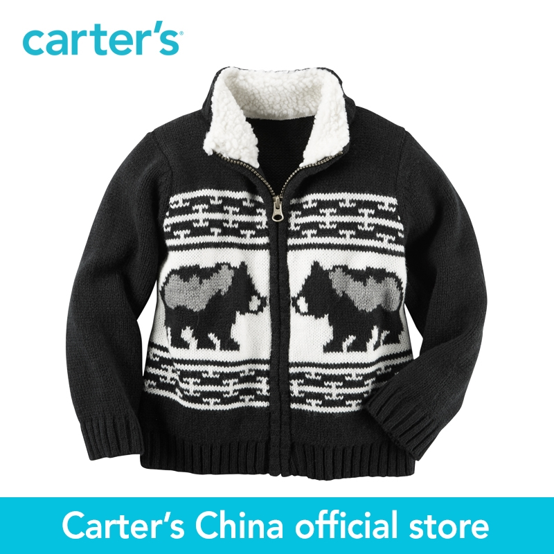 Carter's 1pcs baby children kids Sherpa-Lined Zip-Front Sweater 243G627,sold by Carter's China official store