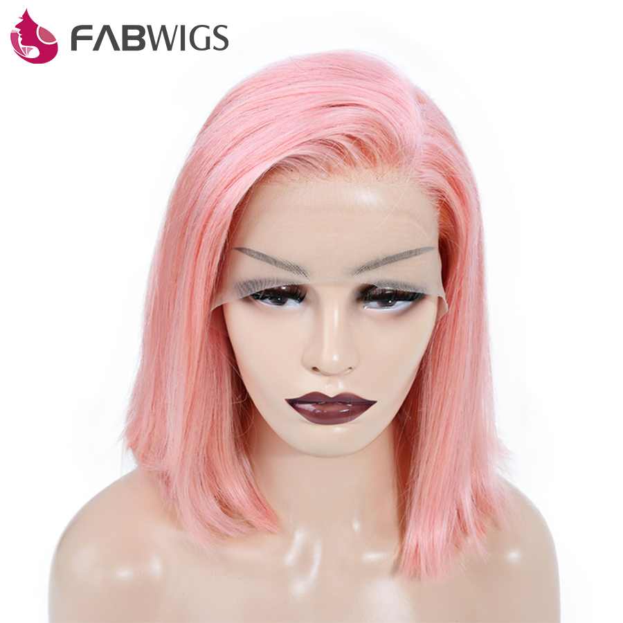 Fabwigs 250 Density European Lace Front Human Hair Wigs with Baby Hair 13x4 Pink Short Human