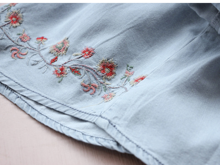 2018 Spring Autumn 3-12 Age Kids Embroidery Flower Long And Short Sleeve Double Use Denim Blue Elegant Dress For Girl With Belt (13)
