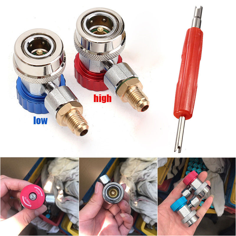 Car AC Air Conditioning High Low R134a Connector Quick Coupler Adapter Remover Tool 90 Degress Air