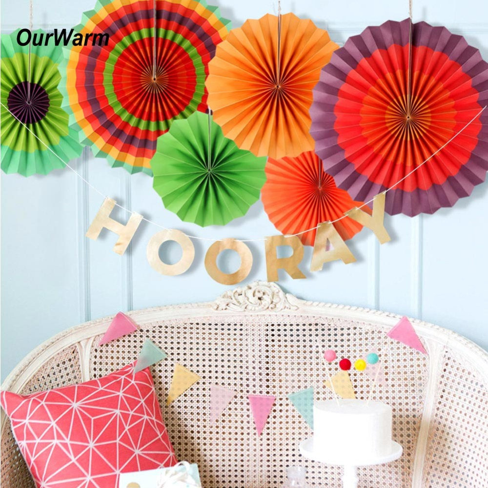 Us 4 99 Ourwarm Mexican Party Paper Fans Party Hanging Paper Flowers 6pcs Paper Fans Mexican Fiesta Ideas Party Background Decoration In Party Diy