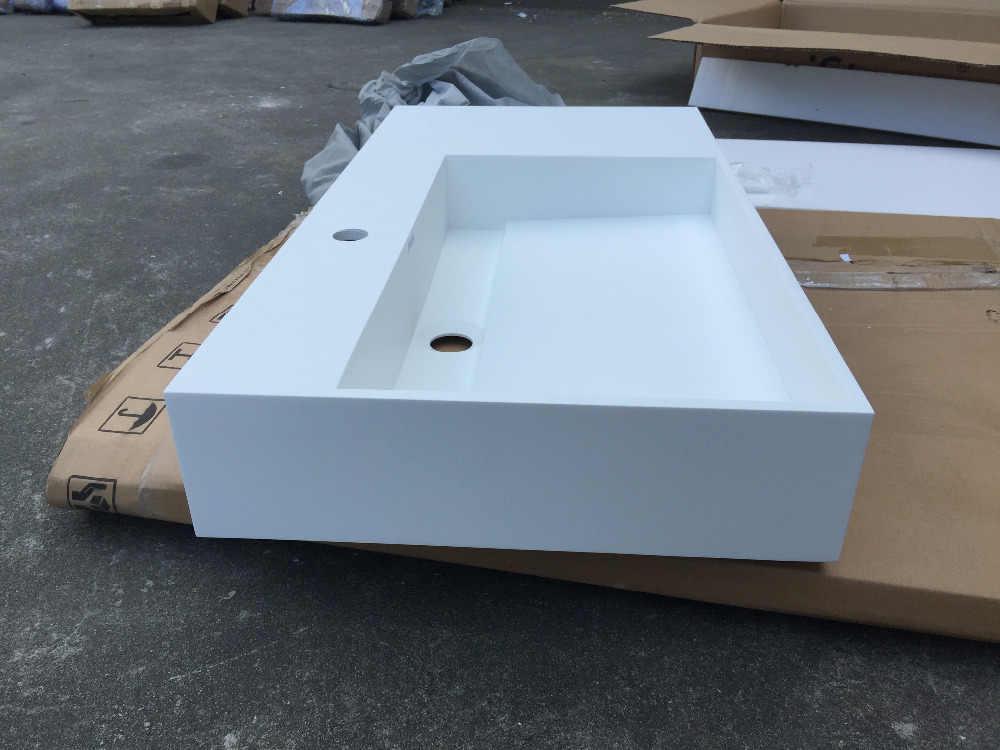مستطيلة سطح مات الصلبة مكافحة أعلى غسل بالوعة الحمام كوريان الحجر مغسلة RS3815-973
