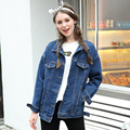 2017 новый бренд негабаритных джинсовый жакет джинсы женские свободные BF пальто девушку с длинным рукавом джинсовой куртки и пиджаки женщина XL