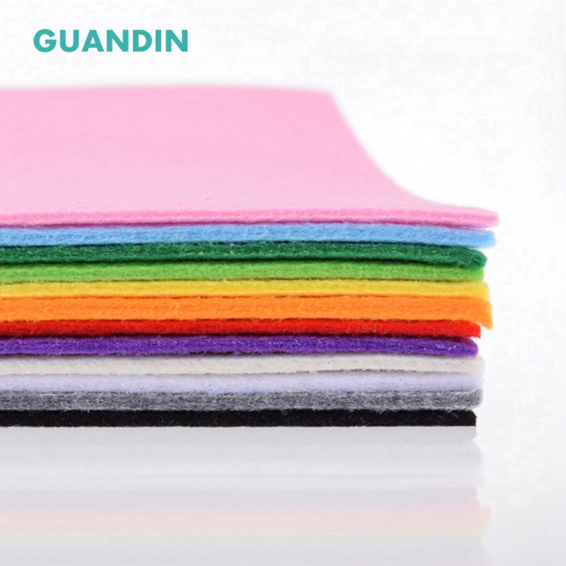 GuanDin,Mix Solid Color Felt/Polyester Nonwoven  Fabric/Thickness 3mm/for DIY Sewing Toys,Crafts Dolls/12pcs In 1 Pack/30cmx30cm