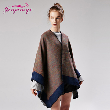 Jinjin.QC 2019 Women Fashion Ponchos and Capes Winter Cashmere Poncho Cape Echarpe Foulard Femme Drop Shipping