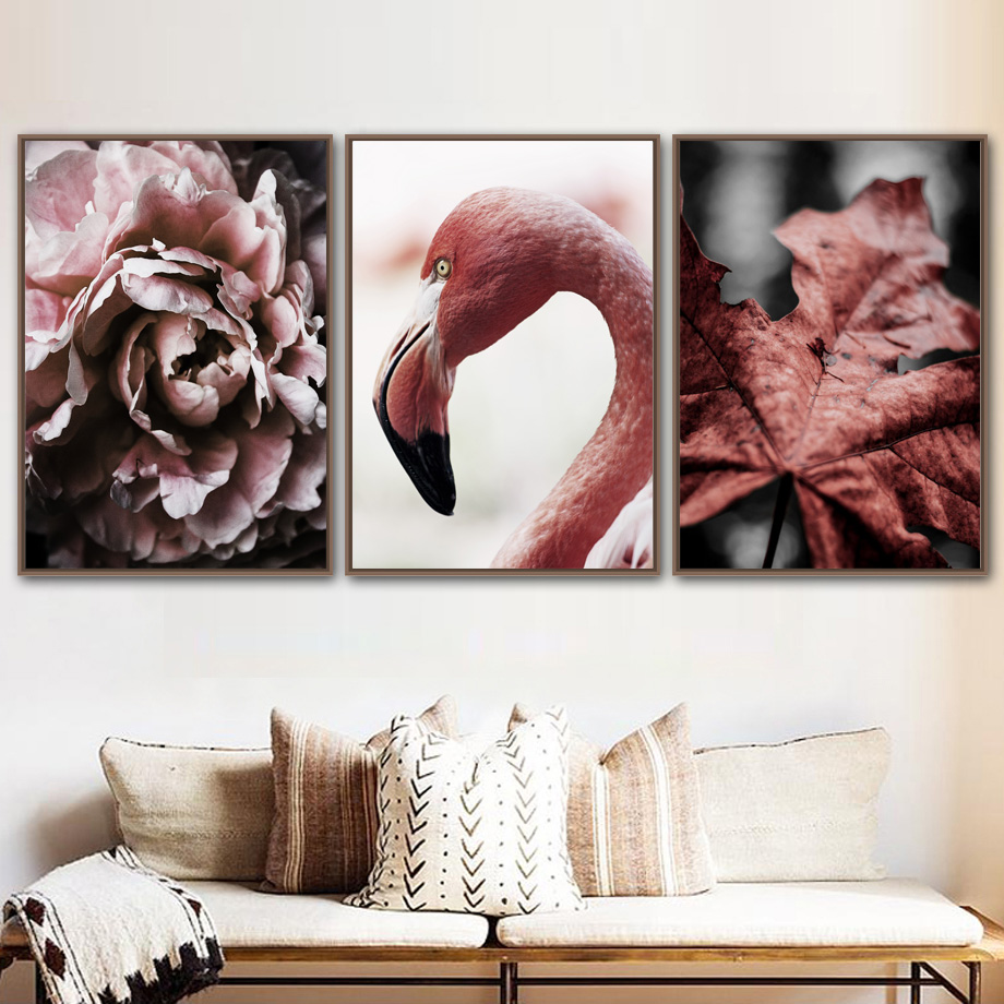 Flamingo Sycamore Leaf Peony Flower Wall Art Print Canvas Painting Nordic Posters And Prints Pictures For Living Room Decor