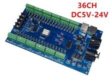 Бесплатная доставка 1 шт. DC5V-24V 36 канал 12 групп Легко 36CH RGB DMX512 РЛ 3 P светодиодный контроллер, декодер, диммер, привод для прокладки водить
