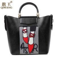 Qiwang 2016 European Full Grain Leather Lady Tote Handbag Fashion Hot Sale With Emblem And Trademark