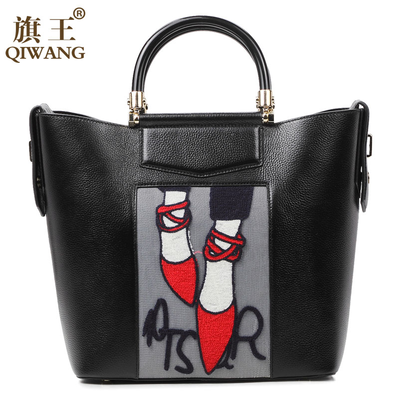 Qiwang Embroidery Handbag Woman Luxury Fashion Shoes Bag Real Leather Tote Bag P