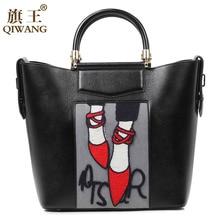 Qiwang Bordado Bolso de la Mujer de Lujo Zapatos De Moda Bolsa de Mano de Cuero Auténtico Diseñador de la Marca Bolso de La Manera Bolso de Francia París