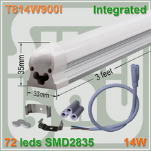 4pcs/lot LED TUBE T8 integrated 3ft 900mm milky clear cover available 14W surface mounted lamp comes with accesory easy install