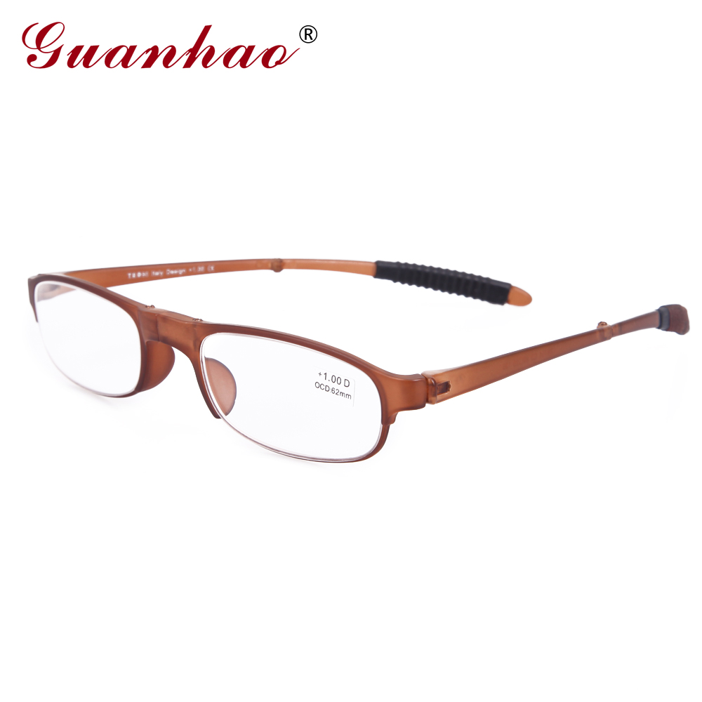 Guanhao Unbreakable TR90 Frame Ultralight Folding Reading Reading ակնոցներ Տղամարդիկ կանայք ացետատ բարակ Presbyopia Spectacles Case 1.0 1.5
