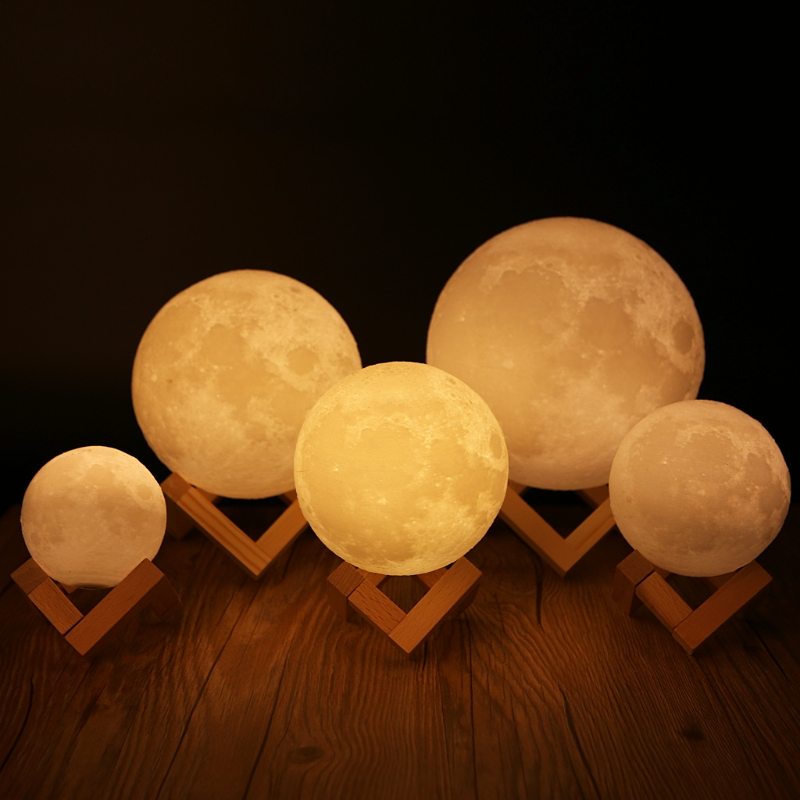 YAM 8/10/12/15/18/20cm Romantic Gift 3D Magical LED Luna Night Light Moon Lamp Desk USB Charging Touch Control Home Decor