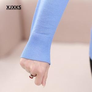 Image 5 - 새로운 2017 스웨터 정말 두 조각 세트 지퍼 얇은 고품질 최고 여성 긴 소매 카디건 플러스 크기 여성 지퍼 스웨터