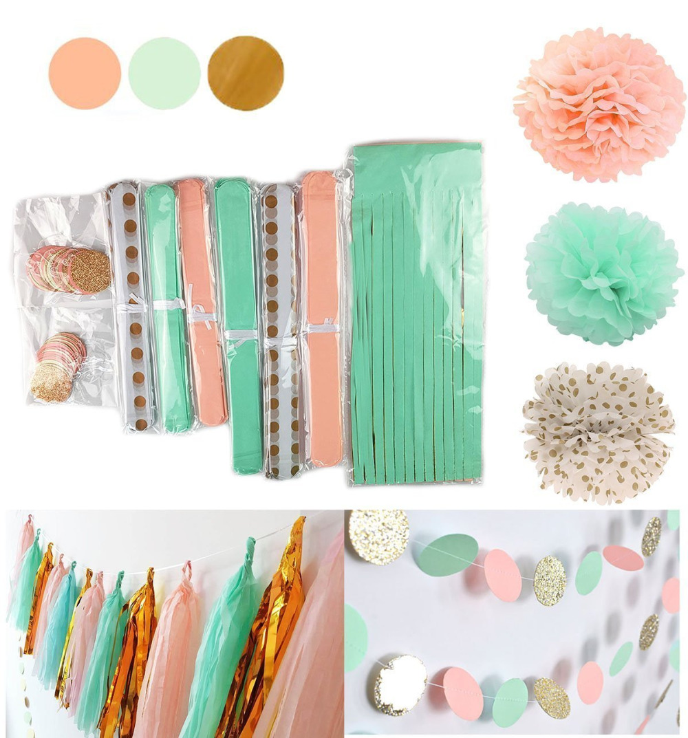 10 Set Mint Peach Gold Tissue Paper Pom Pom Gold Tissue Pom Pom Paper Tassel Polka Dot Paper Garland for Party Decoration