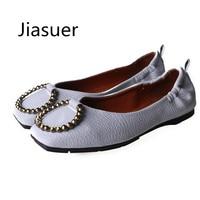 Jiasuer Primavera PU moda feminina sapatos baixos Bowknot fivela de metal cabeça quadrada para sapatos femininos Grandes estaleiros vazio lado feminino flats