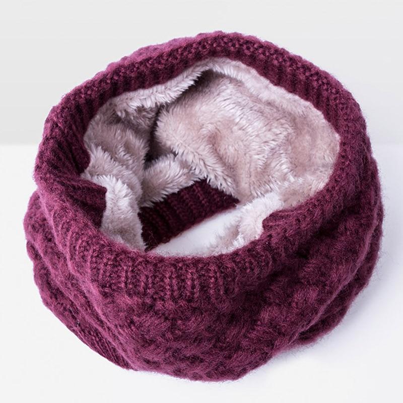 Зимний теплый шарф вельветовый хлопковый шарф на шею для мальчиков и девочек удобный для мужчин и женщин - Цвет: Wine