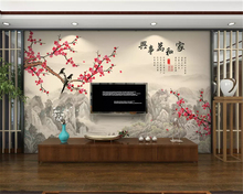 beibehang Custom fashion wallpaper new Chinese ink landscape plum blossom indoor TV bedroom background wall papers home decor