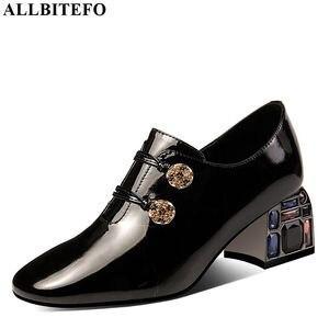 Image 1 - Allbitefo 라인 석 발 뒤꿈치 정품 가죽 하이힐 여성 신발 여성 하이힐 신발 숙녀 신발 여성 발 뒤꿈치 크기: 34 42