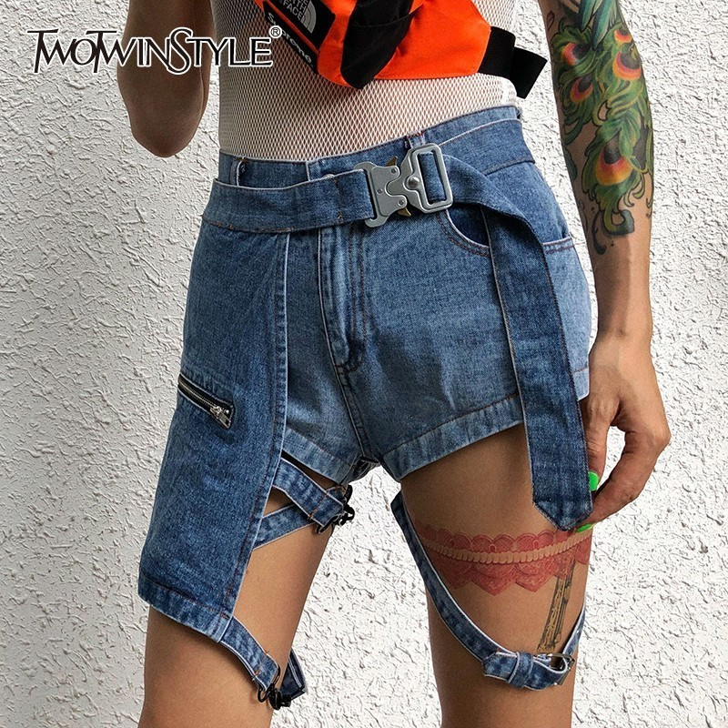 TWOTWINSTYLE Summer Hollow Out Women   Shorts   High Waist Irregular Lace Up Big Size Denim   Shorts   Jeans Female Fashion Clothes 2019