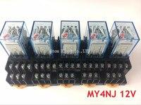 5 PCS 5A 4NO 4NC MY4NJ DC AC 12 V Bobina Verde LED Poder indicador de Relé Trilho DIN 14 Pinos relé de tempo com o soquete base