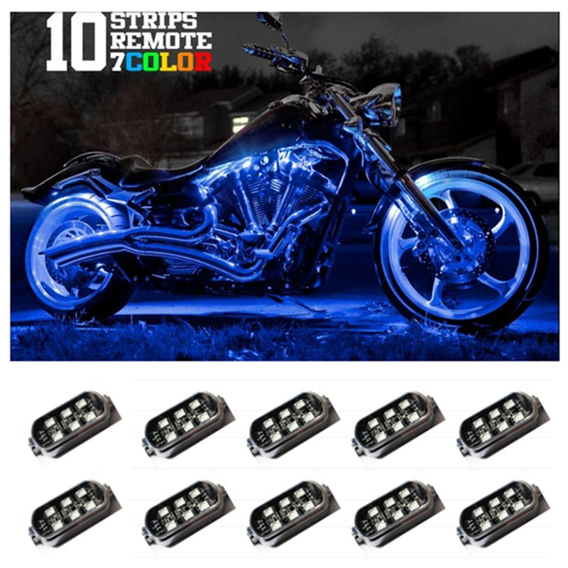 10 RGB Music Control Wireless Remote LED Car Motorcycle Light Atmosphere Lamp with Smart Brake Light Accent Neon Style Light Kit