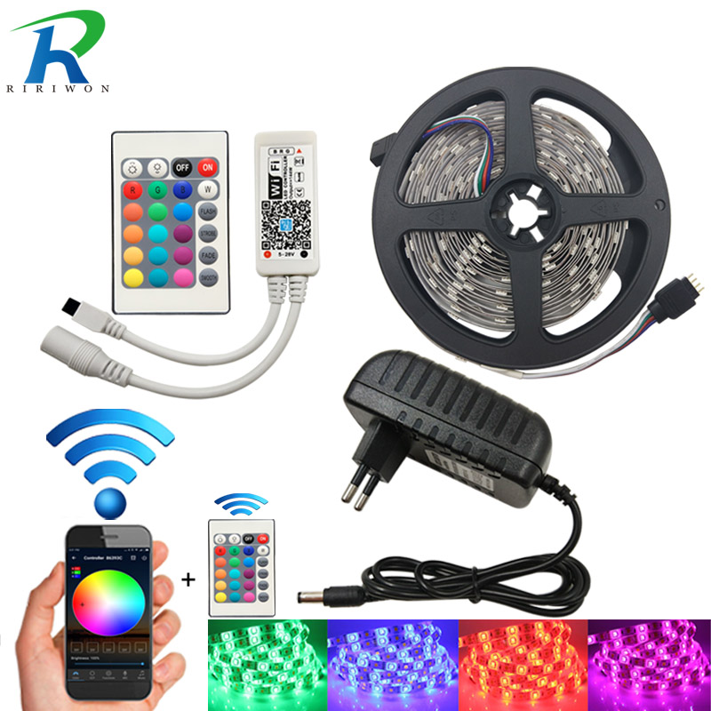 WiFi LED Strip SMD 5050 Waterproof DC 12V RGB LED Light Flexible Ribbon Diode Tape 5m 10m 15m With WiFi Controller+Power 15m led strip set rgb smd 5050 led strip tape light waterproof 450leds wifi 24key controller 12v 78w powersupply diy color