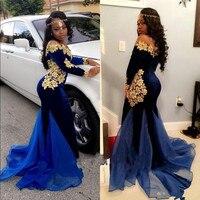 סקסי בת ים שמלות לנשף קטיפה עם תחרה זהב כחול כהה פרח applique אורגנזה רכבת שרוול ארוך מעצב מסיבת dress