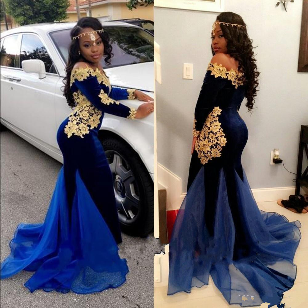 Sexy Mermaid Navy Blue Velvet Prom Dresses with Gold Lace Flower Applique Organza Designer Train Long Sleeve Party Dress