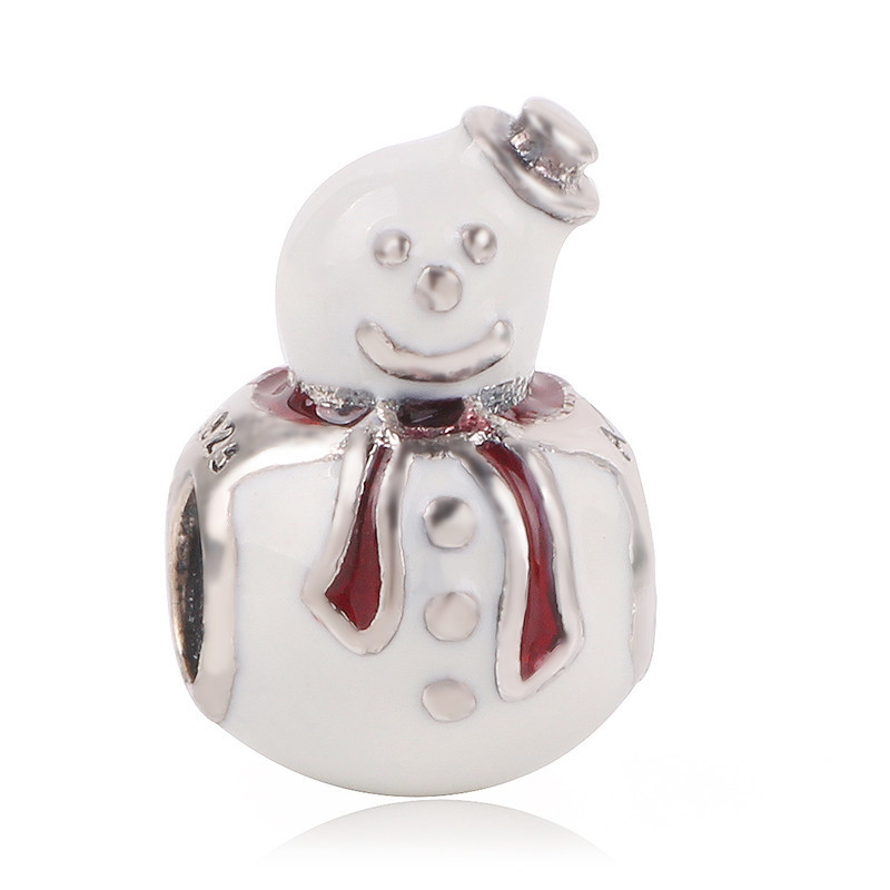 LOVELY SNOWMAN CRYSTAL CHRISTMAS WINTER CHARM PENDANT 925 STERLING SILVER