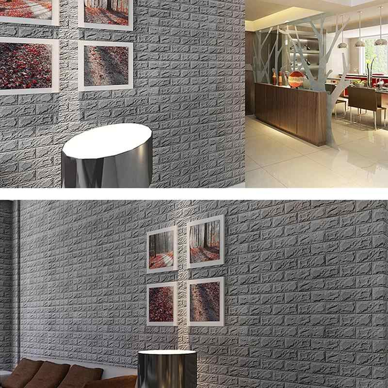 3D Brick Wall Stickers Adhesive Wall Panel Brick Wallpaper for Background in Bedroom Living Room Kitchen Decor 60 x 60cm (White)