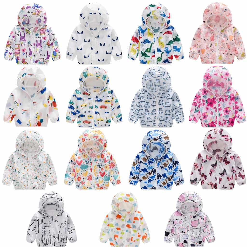2019 Autumn Girls Toddler Kids Summer Sunscreen Jackets Printing Hooded Baby Kids Outerwear Zipper Coats Jackets Clothing