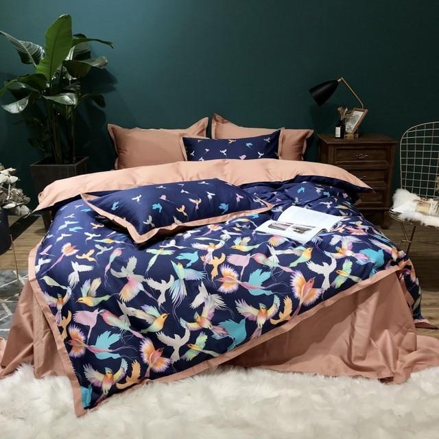 New Egyptian cotton Bedding Set 4pcs Duvet Cover Sets birds Bed Linen Flat Bed Sheet Set Pillowcase Home Textile Drop Ship