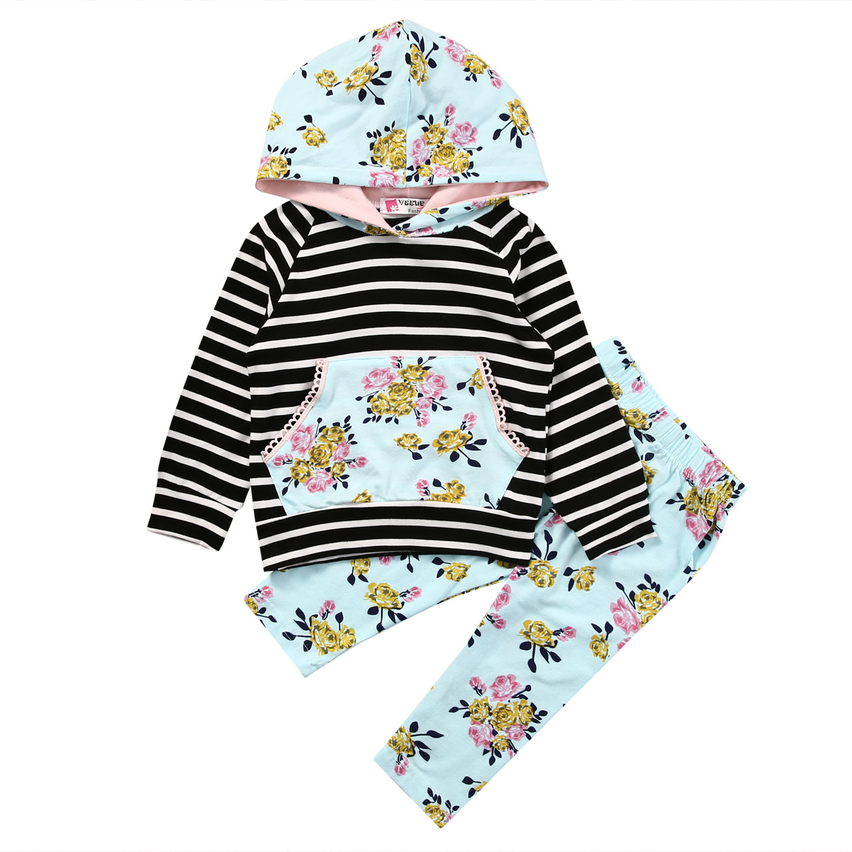 6a8f8c2c Autumn Spring Newborn Infant Baby Girl Clothes Long Sleeve Striped Hoodie  Tops+Floral Pants Leggings 2Pcs Outfits-in Clothing Sets from Mother & Kids  on ...