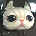 3D Cute Animal Pillow For Car Cartoon Dar Soft Headrest Pillow 2 Colors Polyester Protect  Neck Car Accessorie Seat Covers