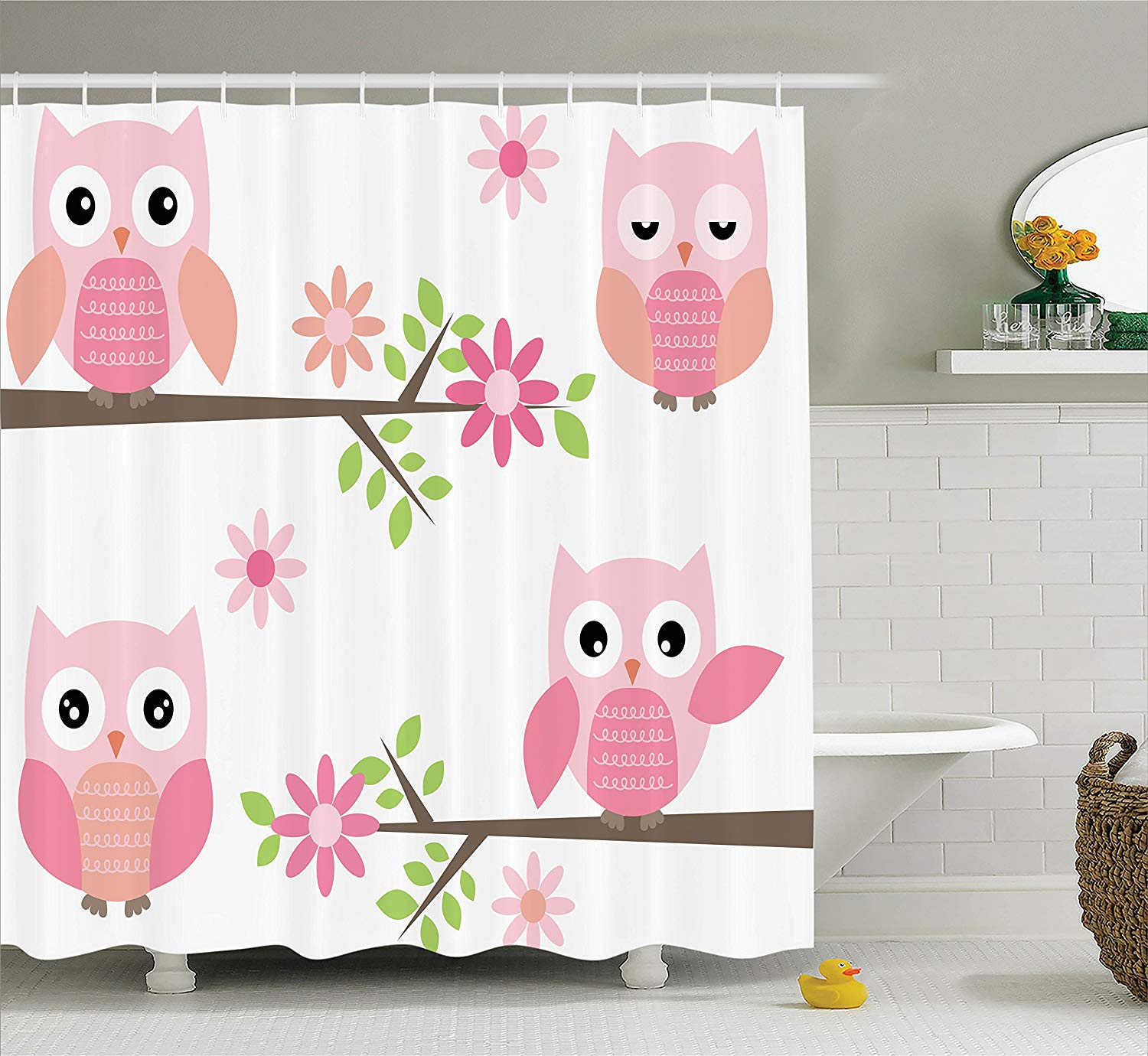 Cute Girly Shower Curtains Owls Shower Curtain Cute Baby Owls Waving In The Floral Tree Springtime Artful Girly Design Print Bathroom Home Decor In Shower Curtains From Home