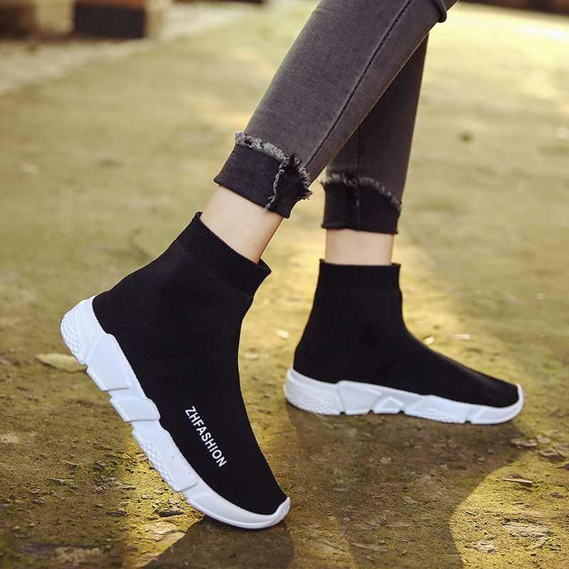 59406f497d4 Women Sock Boots 2018 New Stretch Fabric Shoes Stretch Fabric Slip on  Ladies Black Shoes Women