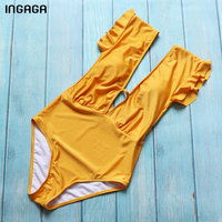 INGAGA 2018 One Piece Swimsuit Female Ruffle Plunging Swimwear Women Monokini Sexy Solid Swimsuit Bathing Suits