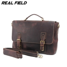 Real Field RF Men Cowhide Leather Briecase Laptop Business Tote Bags Retro Genuine Leather Man Shoulder Messenger Handbags 111