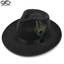 c15e6d1fc7e06 LUCKYLIANJI Men Women Classic Wool Felt Jazz Panama Hat Teardrop Top Wide  Brim Peacock Feather Band