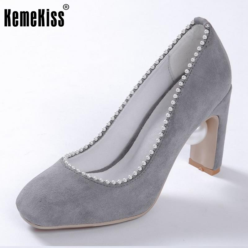 Brand Lady Genuine Leather High Heels Shoes Women Square Toe Flork Thick Heels Pumps Peral Sexy Party Wedding Shoe Size 34-39
