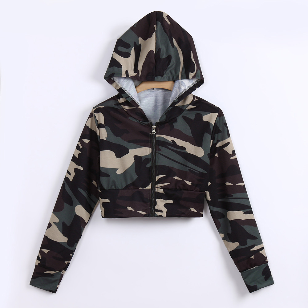 Womens hoodies Fashion Camouflage Print streetwear daily Casual moletom Shirt Long Sleeve Hooded Short Sweatshirts monsta#5s