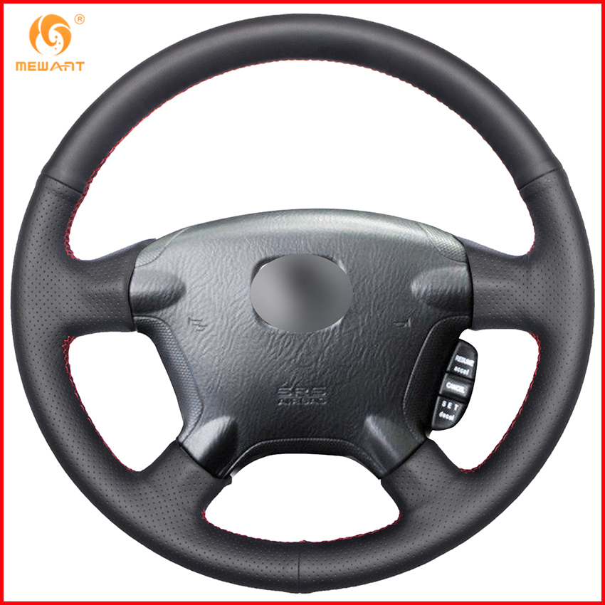 MEWANT Black Genuine Leather Car Steering Wheel Cover for Honda CRV CR V 2006 2005 2004